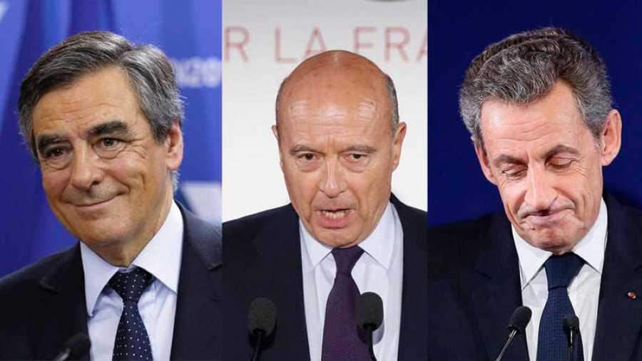 De izquierda a derecha, los líderes de Los Republicanos franceses durante las primarias: François Fillon, Alain Juppe y Nicolas Sarkozy.