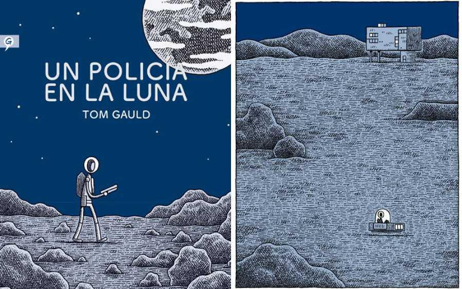 Portada y página de 'Un policía en la luna'