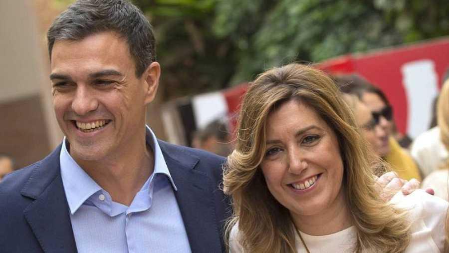 Susana Díaz y Pedro Sánchez, ahora contrincantes en las primarias del PSOE (EFE).