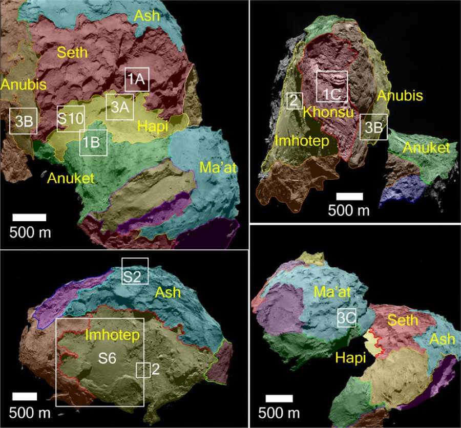 El cometa 67P visto desde distintas orientaciones, con las regiones delimitadas. ESA