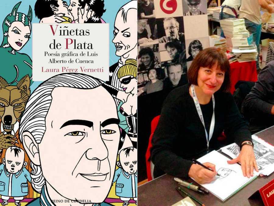 Portada de 'Viñetas de plata' y su autora, Laura Pérez Vernetti