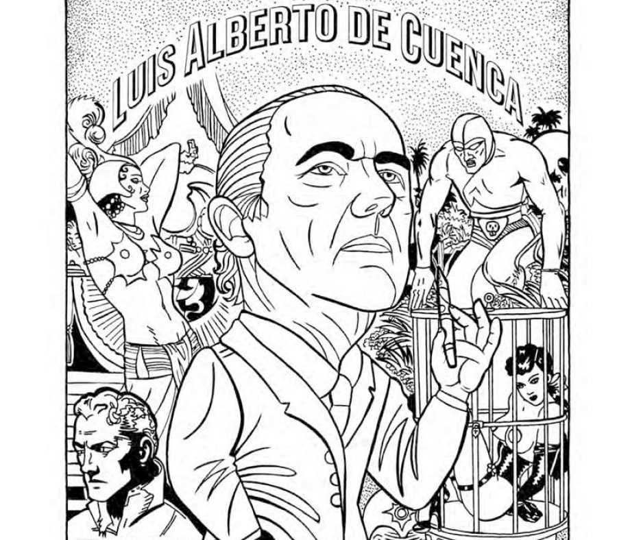 Retrato de Luis Alberto de Cuenca en uno de los poemas