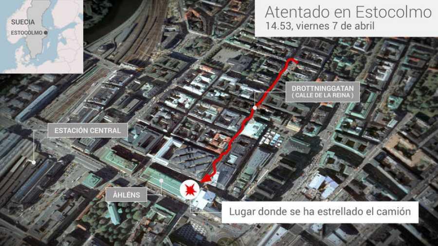 Mapa del atentado de Estocolmo