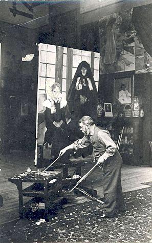 Joaquín Sorolla pinta en su estudio en otoño de 1911