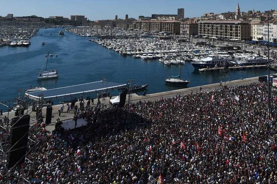Mitin de Jean-Luc Mélenchon en el puerto de Marsella, el pasado 9 de abril