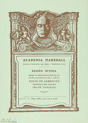 Sesión íntima para la presentación de la niña pianista de 4 años, Alicia de Larrocha, mayo de 1929 a las 7 de la tarde