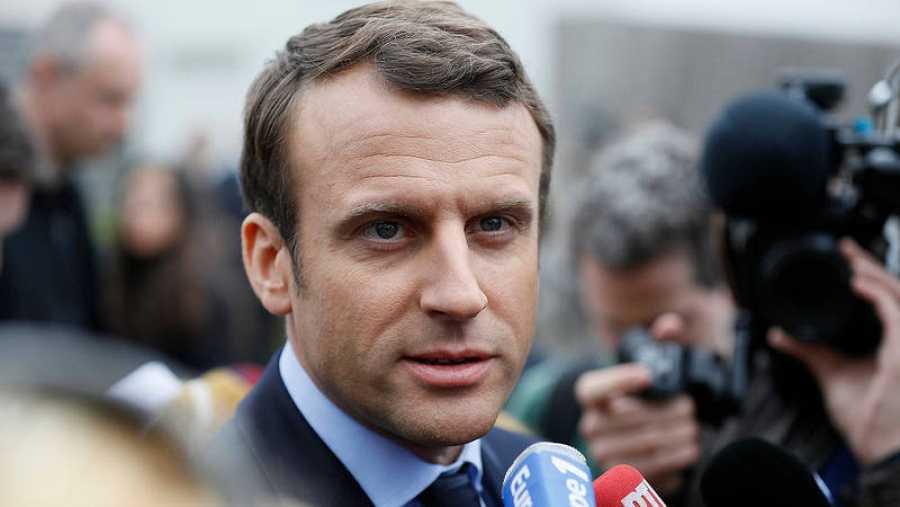 Emmanuel Macron en un acto en Bazainville