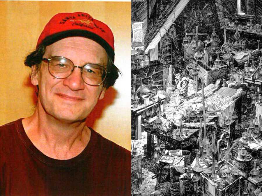 Bernie Wrightson y una de sus ilustraciones para 'Frankenstein'