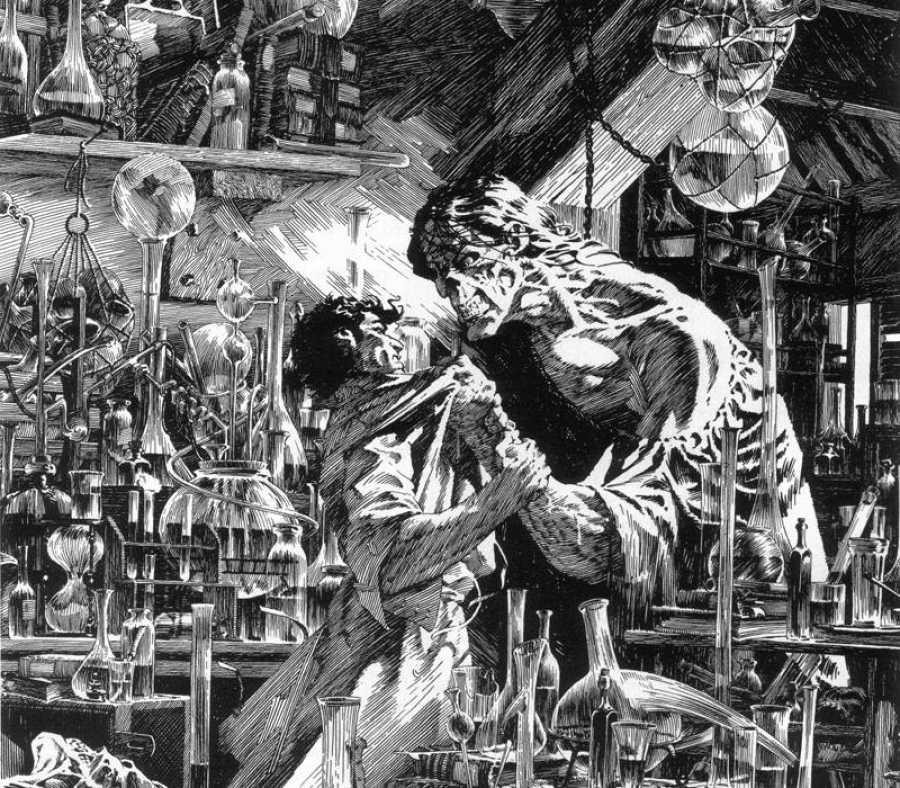 Fragmento de una ilustración de Wrightson para 'Frankenstein'