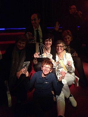 Acudieron a recoger el premio las autoras del documental, Montse Mompó y Pilar Ruiz, junto a la directora de 'Imprescindibles' Ana Peláez y parte del equipo del programa.