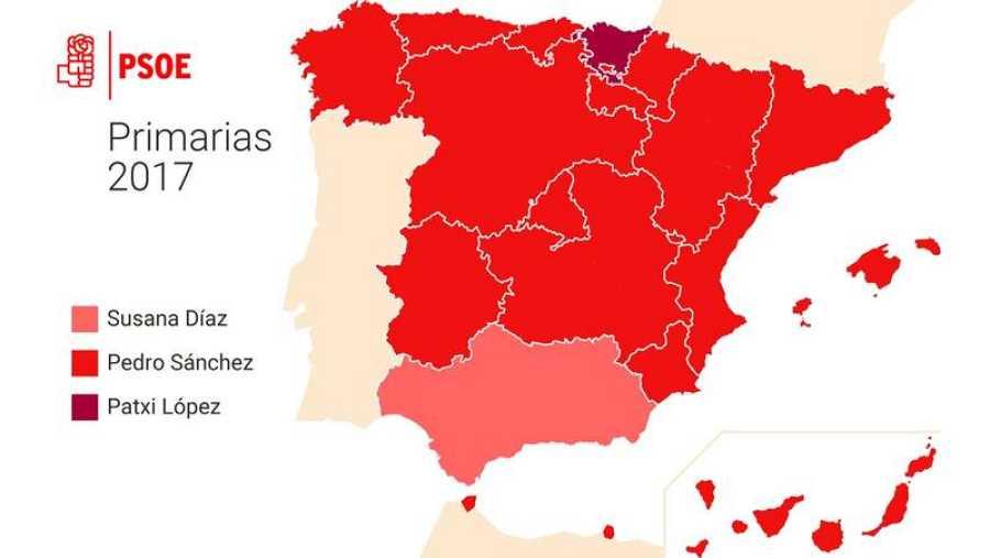 Sánchez gana en todas las comunidades, salvo en Andalucía y País Vasco