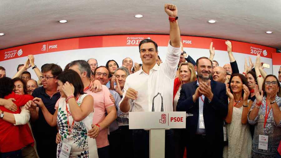El vencedor de las primarias socialistas, Pedro Sánchez, comparece en Ferraz tras conocerse los resultados a la Secretaría General del PSOE