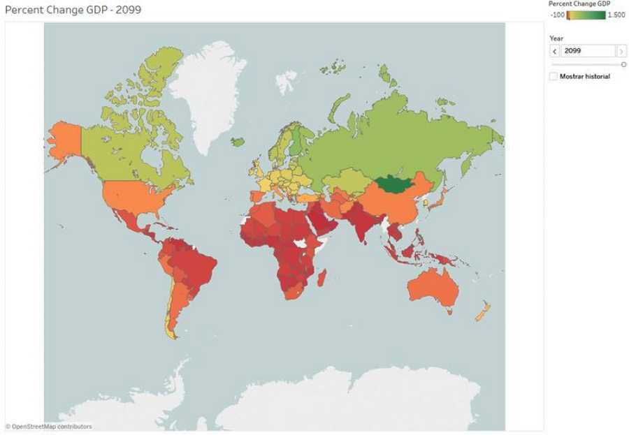 Porcentaje del PIB en la economía de los países en 2099, en comparación con 2016.
