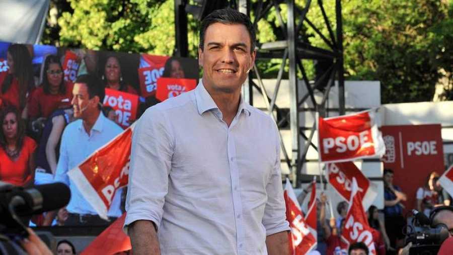 Pedro Sánchez, en un mitin de la campaña de primarias.