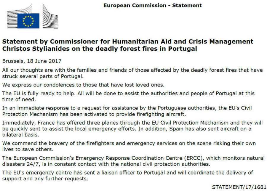 La Comisión Europea ha activado el Mecanismo de Protección Civil