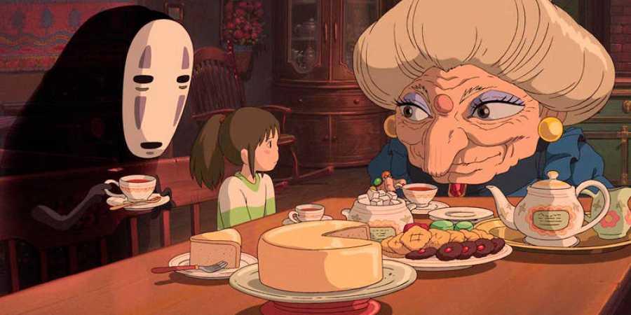 Chihiro con la bruja Yubaaba y Kaonashi (Sin rostro)