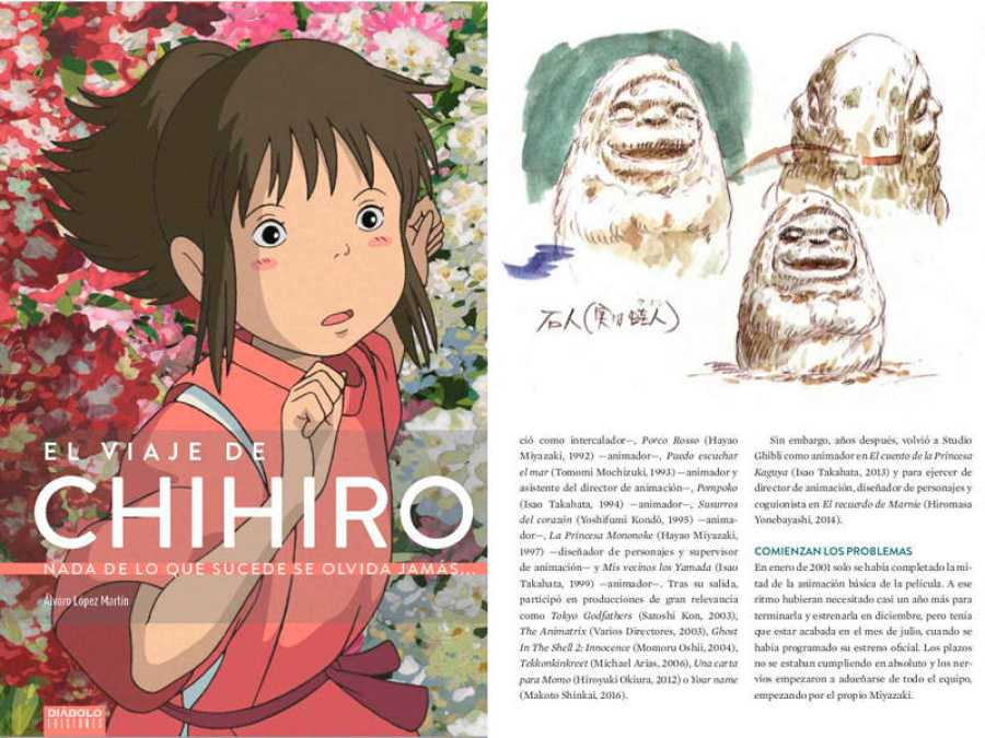 Portada y página de 'El viaje de Chihiro. Nada de lo que sucede se olvida jamás¿'