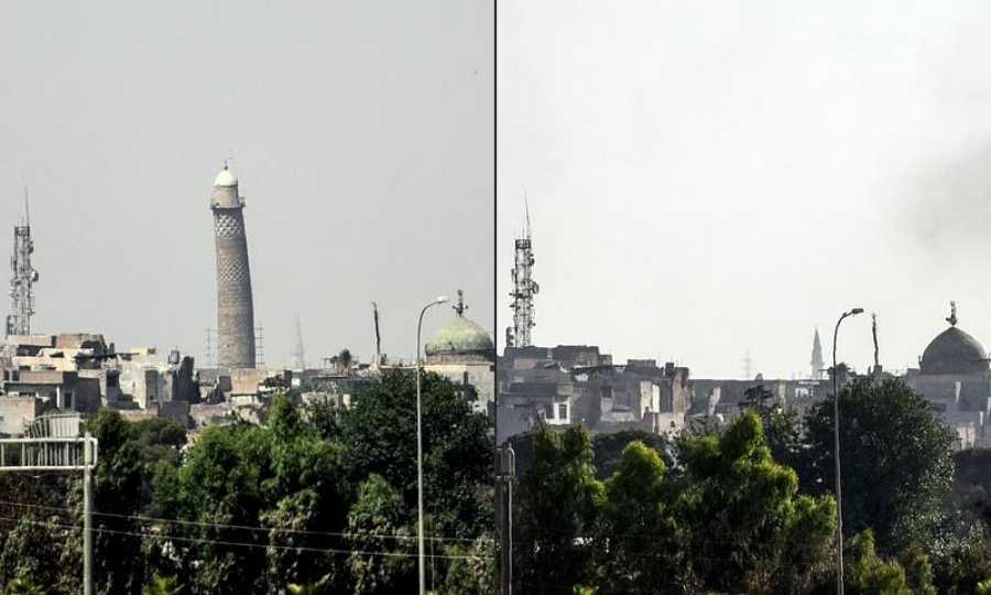 Este combo de fotos tomadas con dos días de diferencia (20 y 22 de junio de 2017) muestran la desaparición del minarete de la mezquita Al Nuri de Mosul, volado por los terroristas del Estado Islámico ante el avance de las tropas iraquíes.