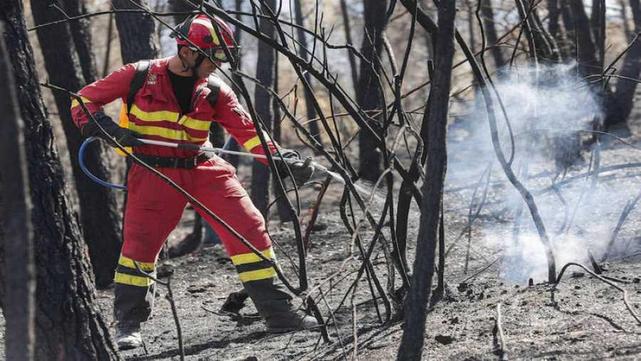 Apagando el fuego en la sierra Calderona, Castellón