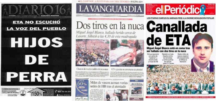 Portadas de Diario 16, La Vanguardia y El Periódico del 13 de julio de 1997