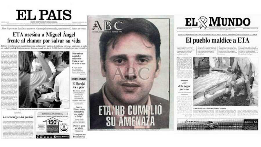 Portadas de El País, ABC y El Mundo del 13 de julio de 1997