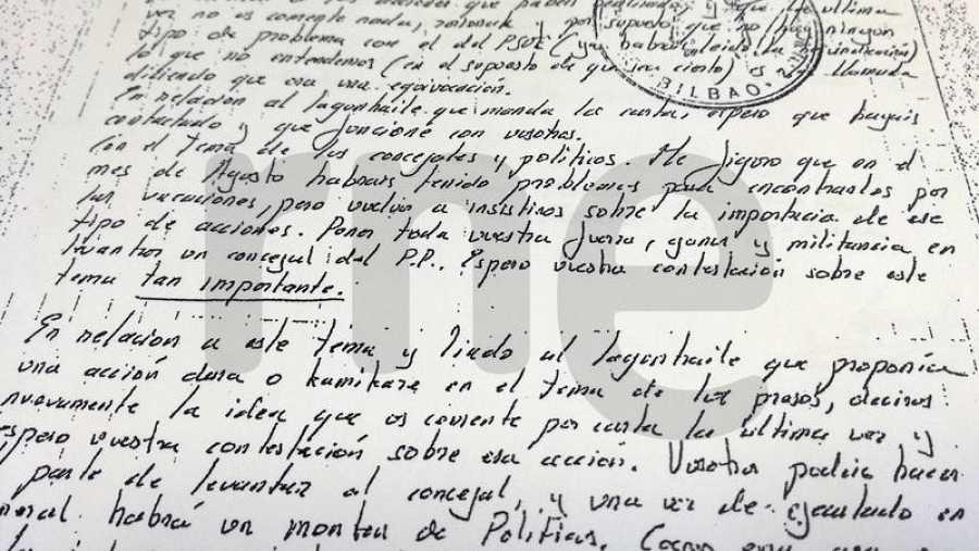 Fragmento de la carta que Kantauri envió a los comandos de ETA para ordenarles el secuestro y asesinato de concejales