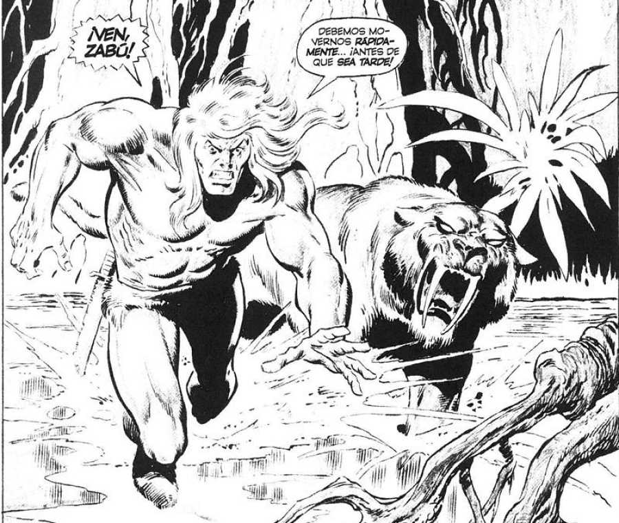 Ka-Zar y Zabu dibujados por John Buscema