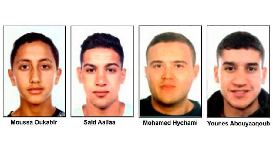 Los cuatro presuntos terroristas de Cataluña buscados, de izquierda a derecha: Moussa Oukabir, Said Aallaa, Mohamed Hychami y Younes Abauyaaqoub