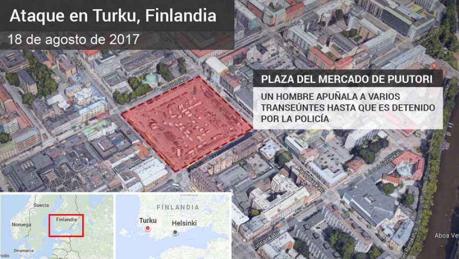 Dos muertos y seis heridos en un apuñalamiento en Finlandia