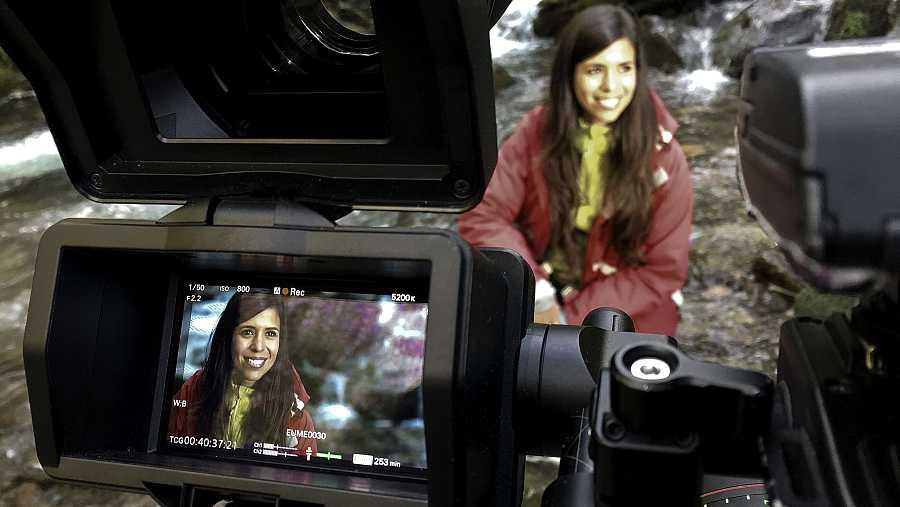 La bióloga Evelyn Segura,en el rodaje
