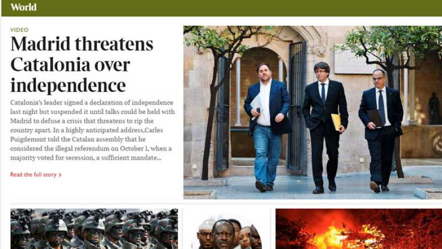 The Times subraya que Madrid amenaza a Cataluña si declara la independencia