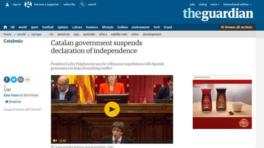El Govern suspende la declaración de independencia, apunta The Guardian
