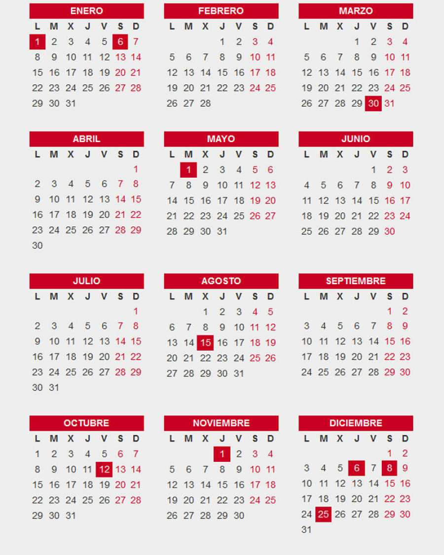 Calendario Festivo.El Calendario Laboral De 2018 Incluye Diez Festivos Comunes
