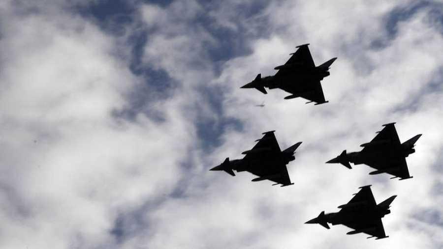 Los eurofighters durante el desfile del Día de la Fiesta Nacional