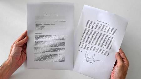 La carta que ha enviado Mariano Rajoy a Carles Puigdemont