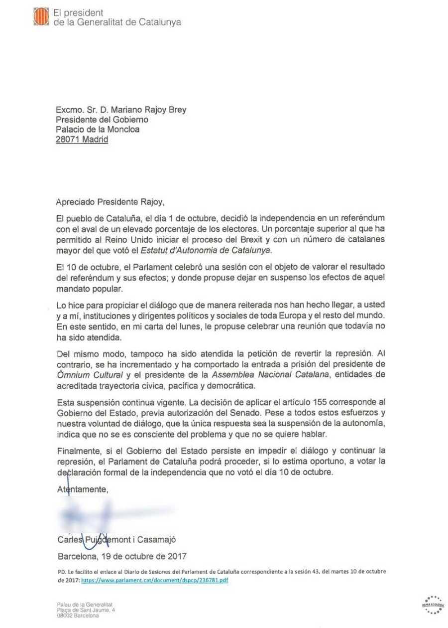Carta de Puigdemont al segundo requerimiento de Rajoy.
