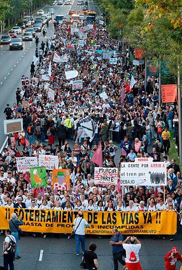 Manifestación en Madrid de la Plataforma Pro Soterramiento del AVE en Murcia