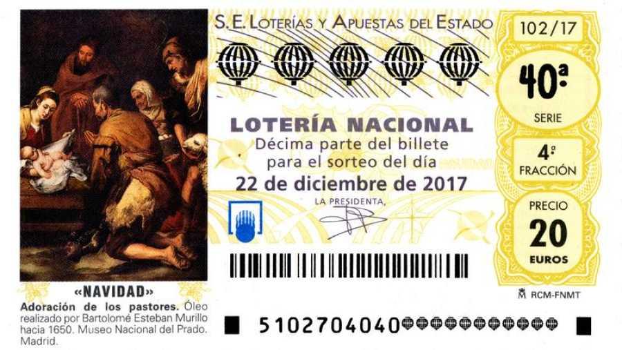Decimo de Lotería de Navidad de 2017 con la obra de Murillo