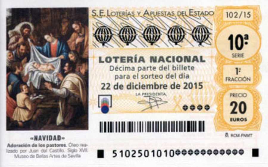 Decimo de Lotería de Navidad de 2015