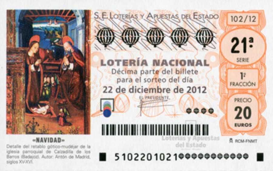 Decimo de Lotería de Navidad de 2012