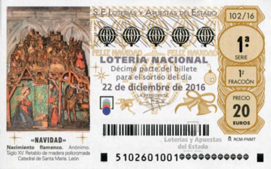 Décimo de Lotería de Navidad de 2016