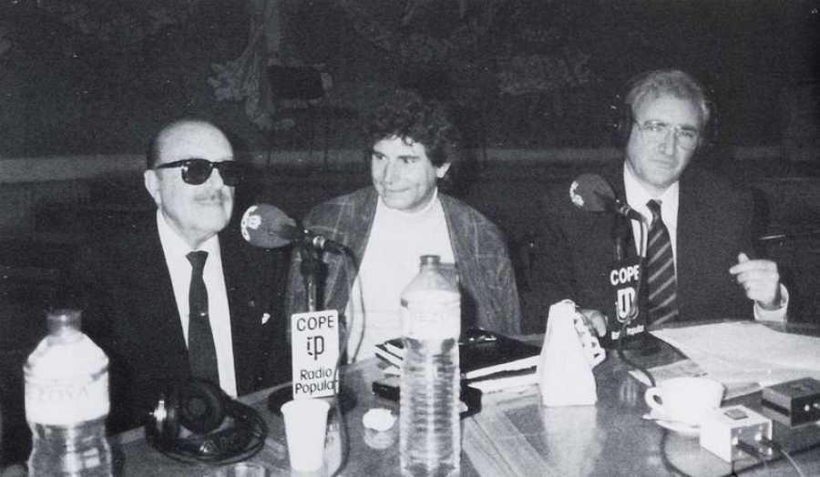 Luis Del Olmo, con dos grandes, Matías Prats y Jesús Quintero