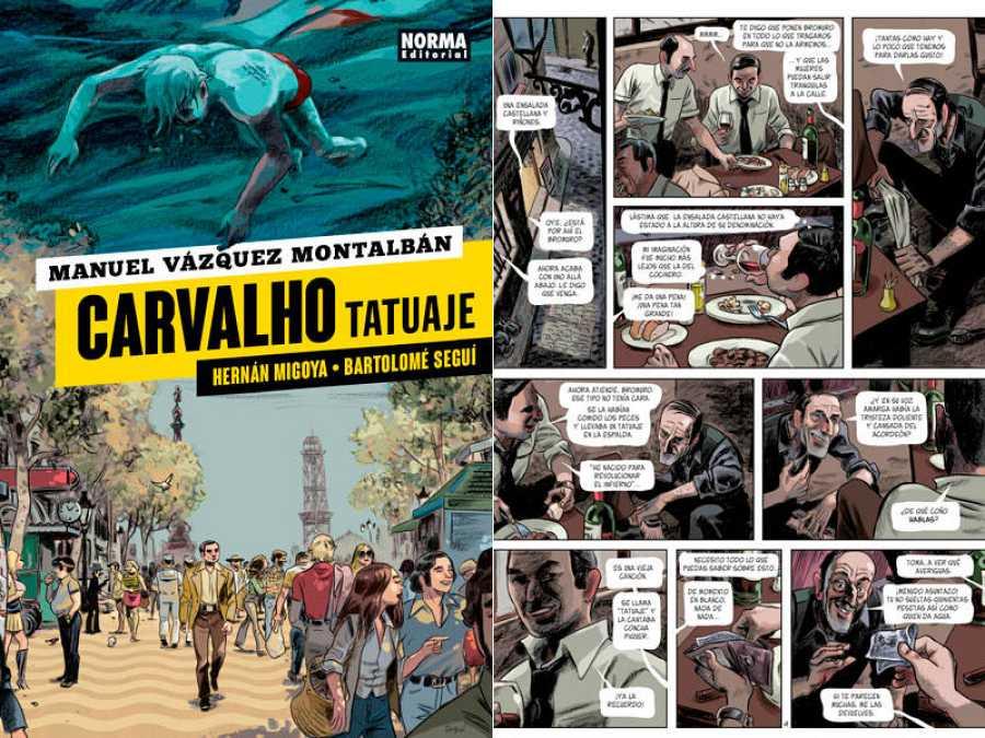 Portada y página de 'Carvalho. Tatuaje'