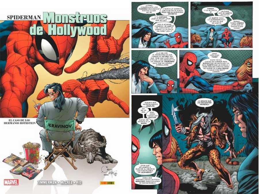 Portada y página de 'Spider-Man: Monstruos de Hollywood'