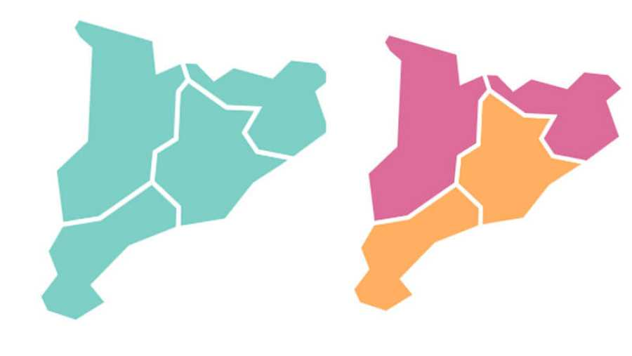 En 2015, Cataluña era del color de JxSí. En 2017, se divide entre JxCat y Ciudadanos (naranja)