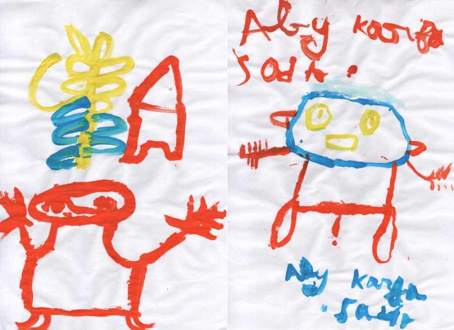 Dos de los dibujos de los chavales