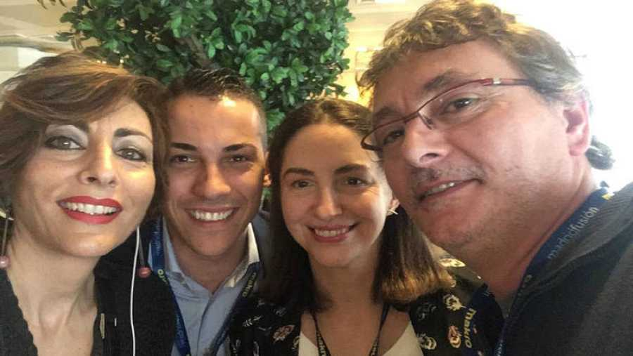 Mamen Asencio con Guillermo Cruz, Elena Arzak y Andoni Luis Aduriz.