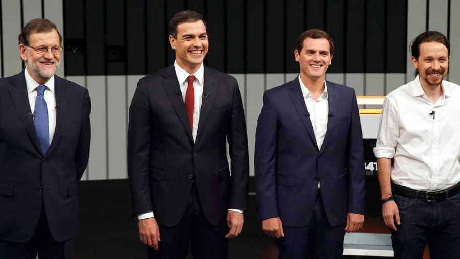 Los líderes de PP, PSOE, Cs y Podemos, en el debate a cuatro de las elecciones generales de 2016