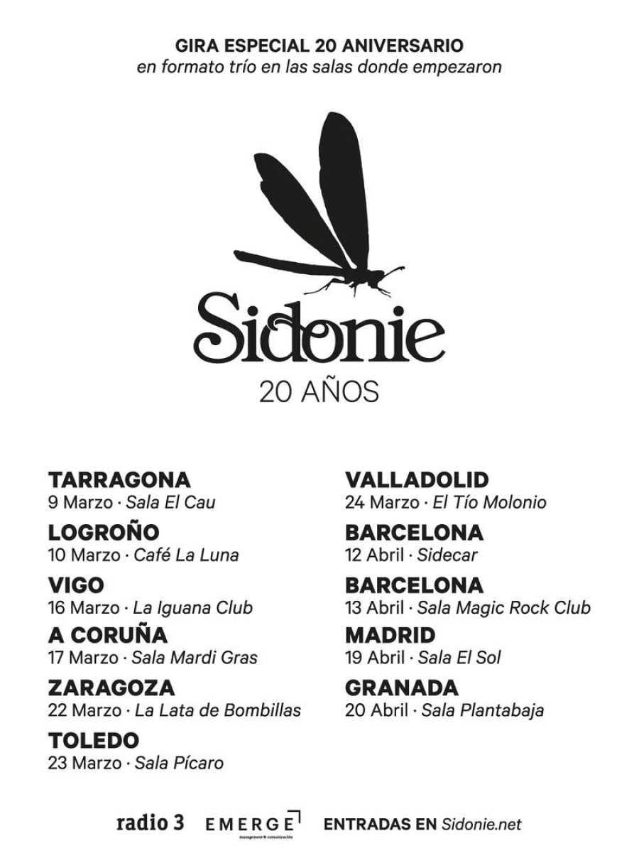 Durante marzo y abril, Sidonie girarán por salas en formato trío