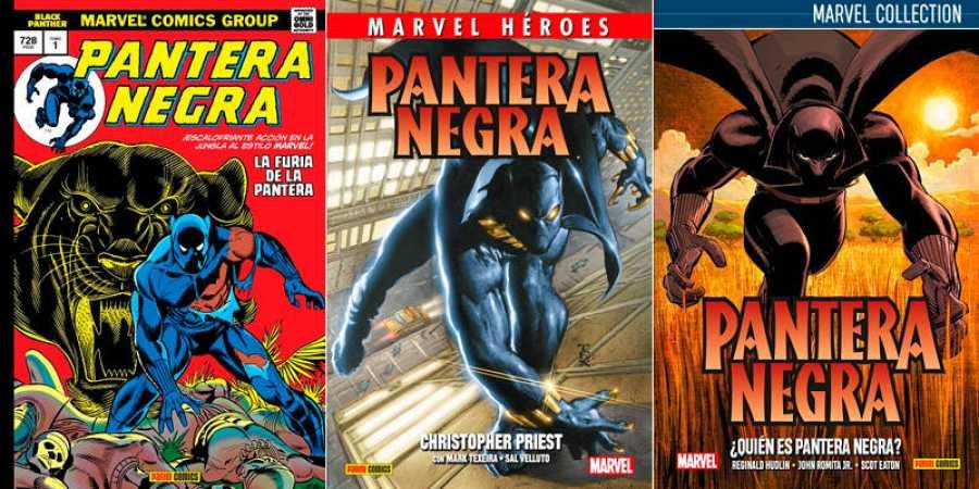 Portadas de 'Marvel Gold: Pantera Negra', 'Héroes Marvel: Pantera Negra de Christopher Priest' y 'Marvel Collection: Pantera Negra de Hudlin'